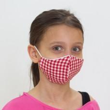 Kırmızı Pötikare Desenli Çocuk Maskesi