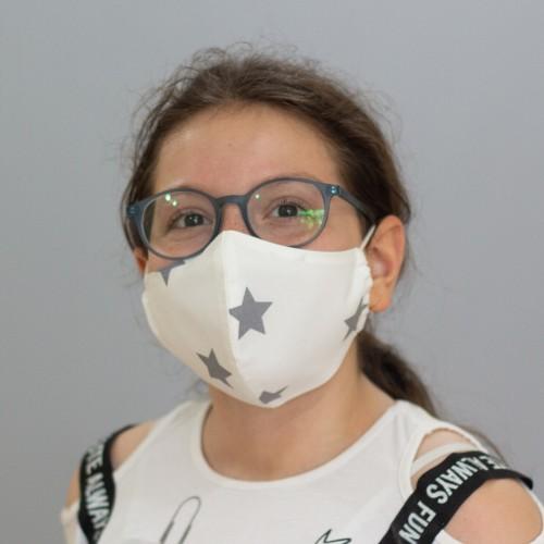 Yıldız Desenli Çocuk Maskesi - Beyaz