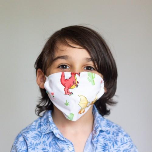 Dinozor Desenli Çocuk Maskesi
