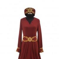 Türk / Edirne Kırmızısı Şalvar Kesim Abiye Elbise